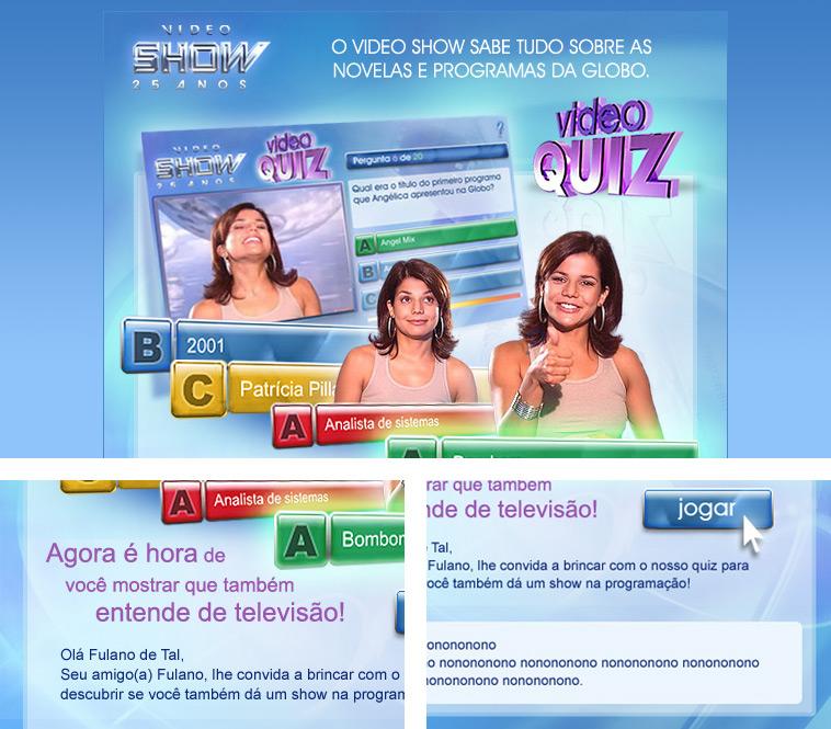 Imagens da newsletter do VideoQuiz